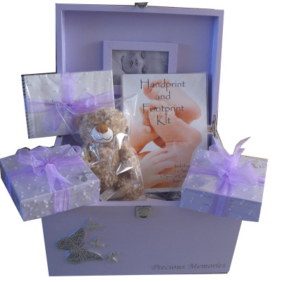 Lavender Baby Gift Set with Silver Butterflies