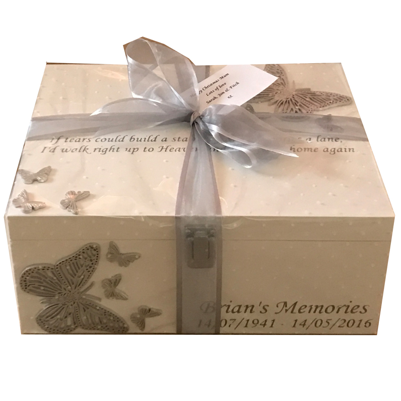 Wooden Bereavement Memory Box With Double Butterflies