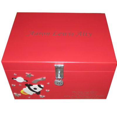 Red XL Painted Keepsake Box for a boy with rockets and stars with hasp & staple and combination padlock