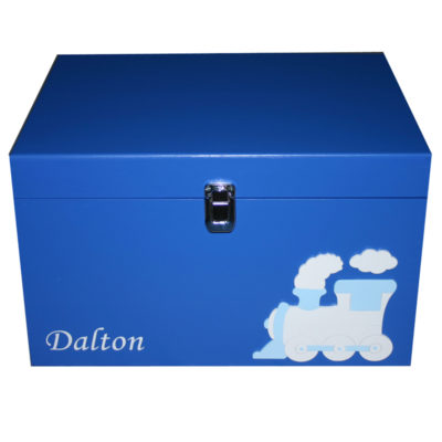 Royal Blue XL Keepsake Box for boys with train and name in white with clasp