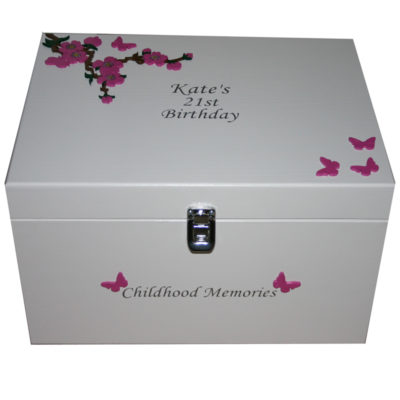 White Keepsake Box XL with dark pink flowers and butterflies