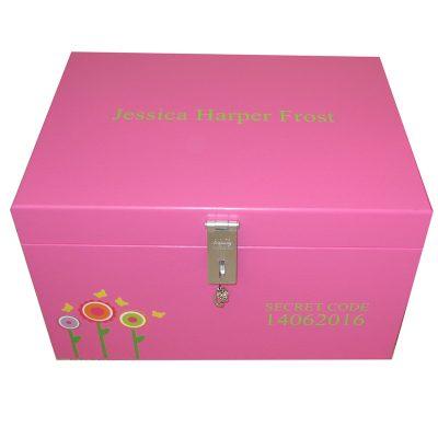 Girls Lockable Personalised XL Keepsake Storage Box with Funky Flowers in Magenta Pink