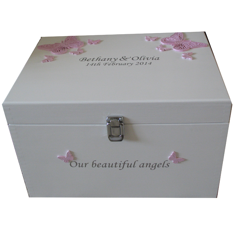 White XL Baby Keepsake or Memory Box for twins