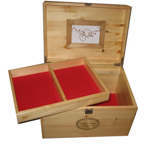 Natural Pine Colour Memory Box with Compartment tray and frame red felt