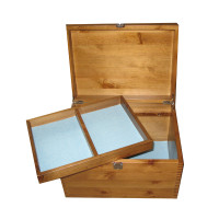 Xl Rustic Pine Storage Box with Compartment Tray and Pale Blue Felt
