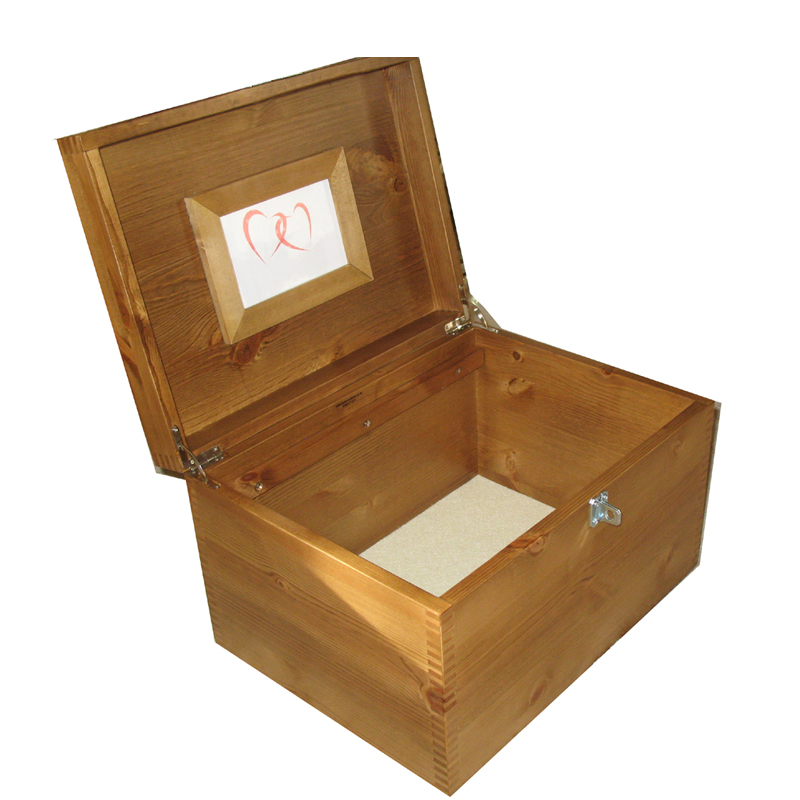 Personalised XL Natural Wood Pet Memory Box with Fluffy Cat -