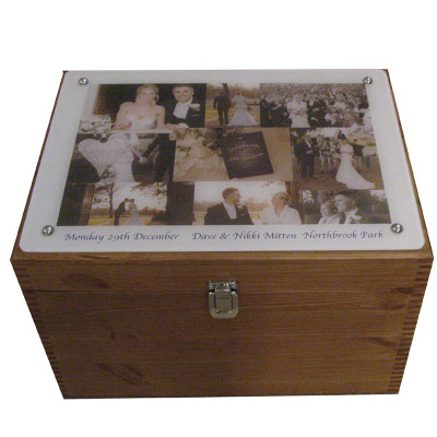 Rustic Pine XL Wedding Keepsake Box with collage on acrylic on the lid