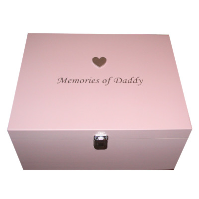 Memories of Daddy Pink Box silver heart