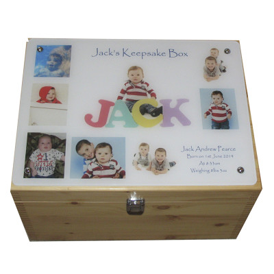 Collage of a child on acrylic on the lid of our natural pine XL box