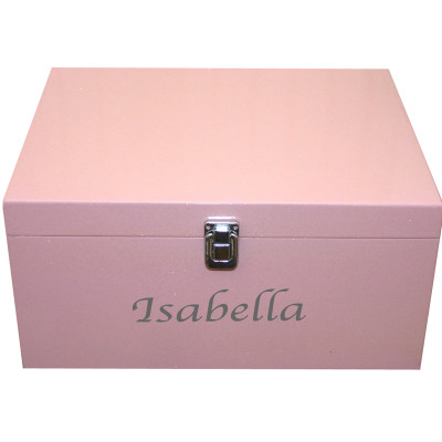 Pink keepsake box with name in silver
