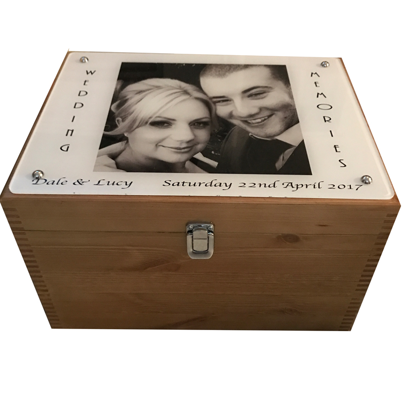 Rustic Pine Memories Box with photo on acrylic