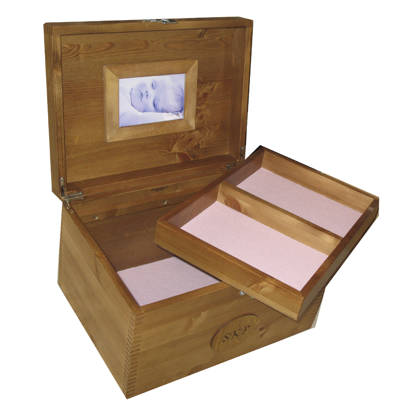Rustic Pine XL Box with tray pink felt
