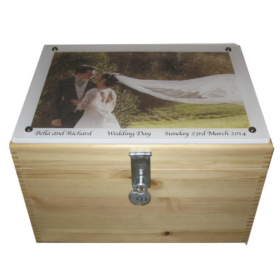 Natural Pine with Photo on Acrylic on the lid with lock