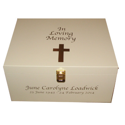 Ivory In Loving Memory Bereavement Box with Cross