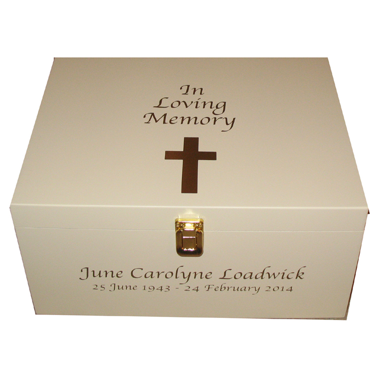 Ivory In Loving Memory Bereavement Box with Cross