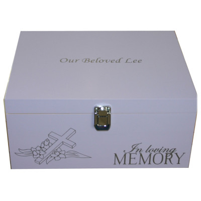 Lavender In Loving Memory Box with Cross on its side