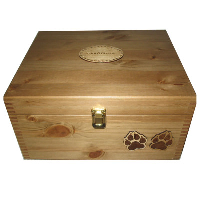 Large Rustic Pine Pet Box with cat paws