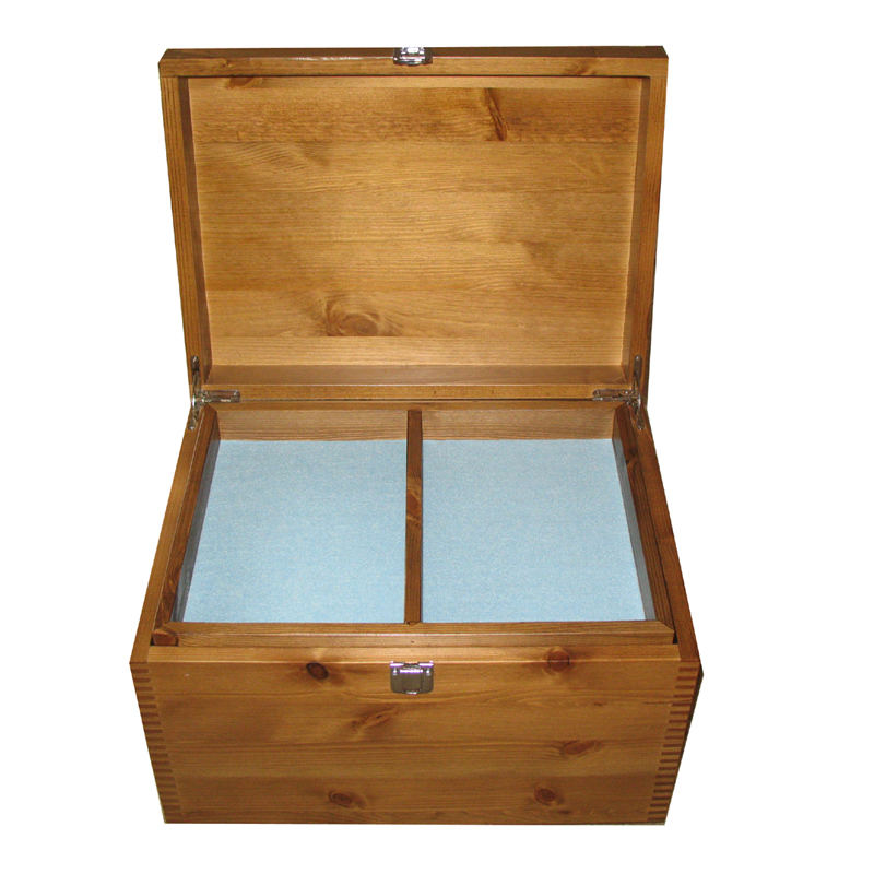Rustic Pine XL Keepsake Box open with pale blue felt and compartment tray
