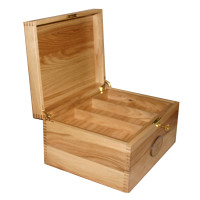Solid Oak Memory Box Open with tray