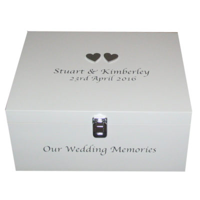 White Wedding Keepsake Box with silver hearts and lettering