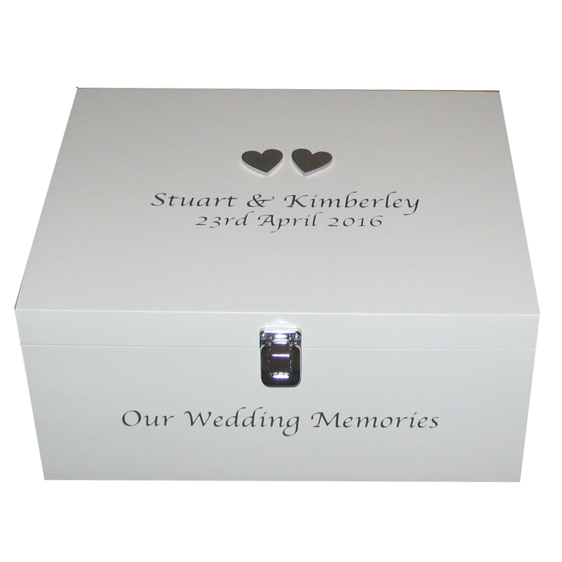 Personalised Wooden Wedding Memory Box With Hearts