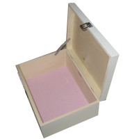 White Box open with pale pink felt