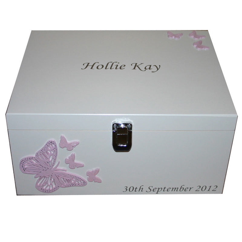Wooden White Christening Box with Butterflies