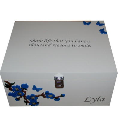 White box royal blue flowers butterflies with quote on the lid