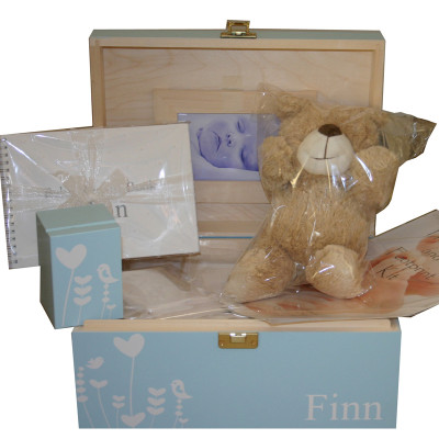 Blue Baby Gift Set open with whimsical design