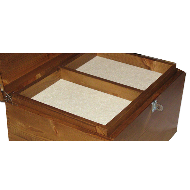 Rustic Pine Box with compartment tray and cream felt