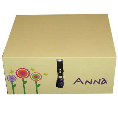 Girls Pretty Keepsake Box in Yellow with funky flowers