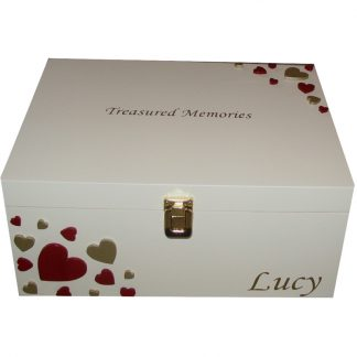 Ivory Keepsake Box Gift with red and gold hearts