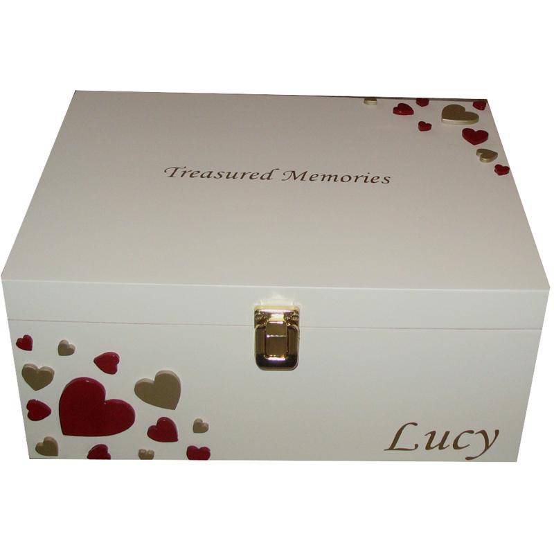 Personalised Baby Gifts Keepsake Boxes : Personalised romantic keepsake or memory box gift with
