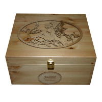 Natural Pine Large Keepsake Storage Boxes for girls with fairy and bluebell