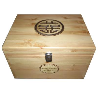 Chinese Doulbe Happiness Symbol on Wooden Memory Box