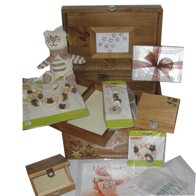 Natural XL Wooden Keepsake Boxes Pine Baby Gift Set with stars