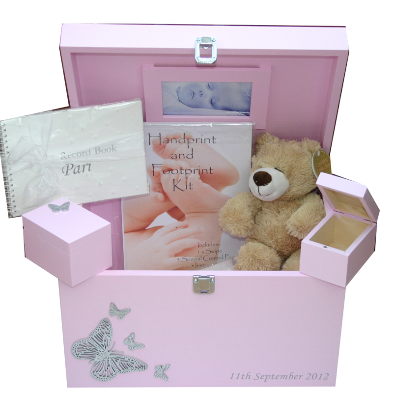 Baby Gift Set Packaging : Wooden xl baby keepsake boxes gift sets with silver