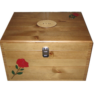 Rustic Pine Extra Large Memory Boxes with Red or Yellow Roses