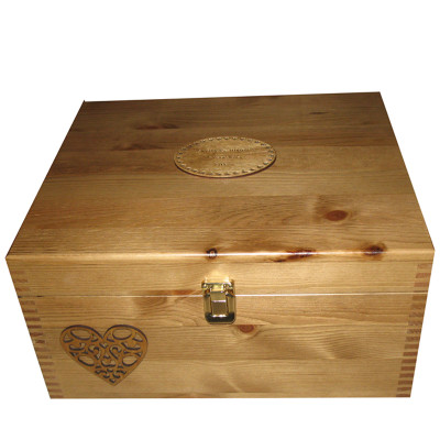 Rustic Pine Keepsake Box with Fretwork Heart and brass tone clasp