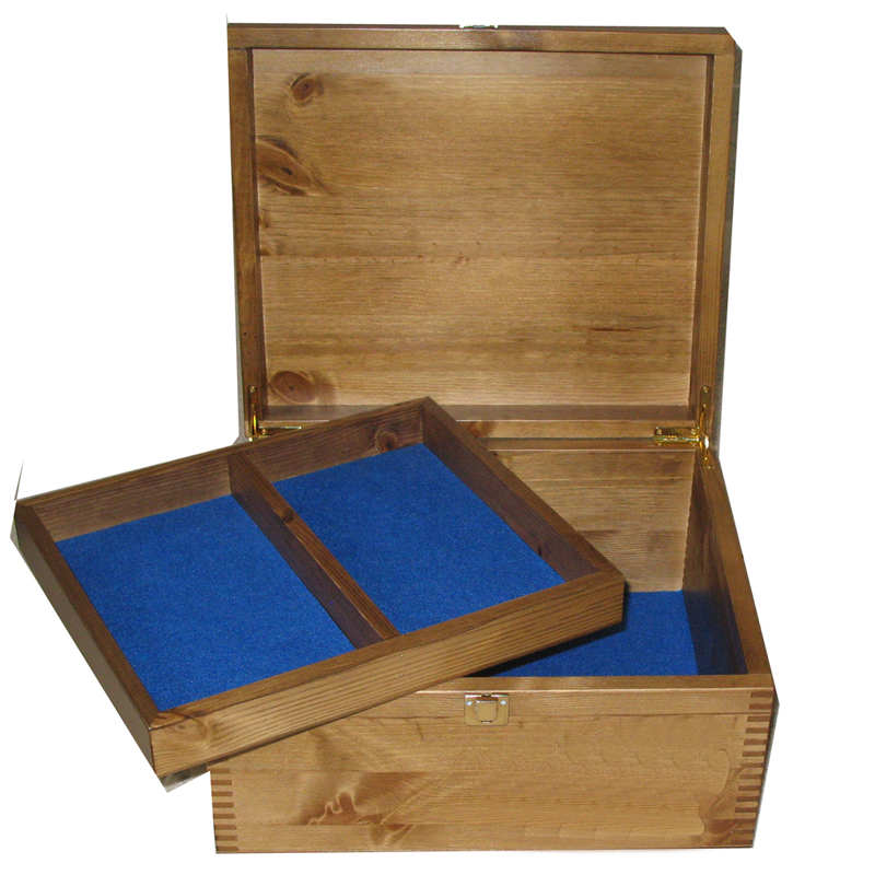 Rustic Pine Large Size with tray Royal Blue Felt open