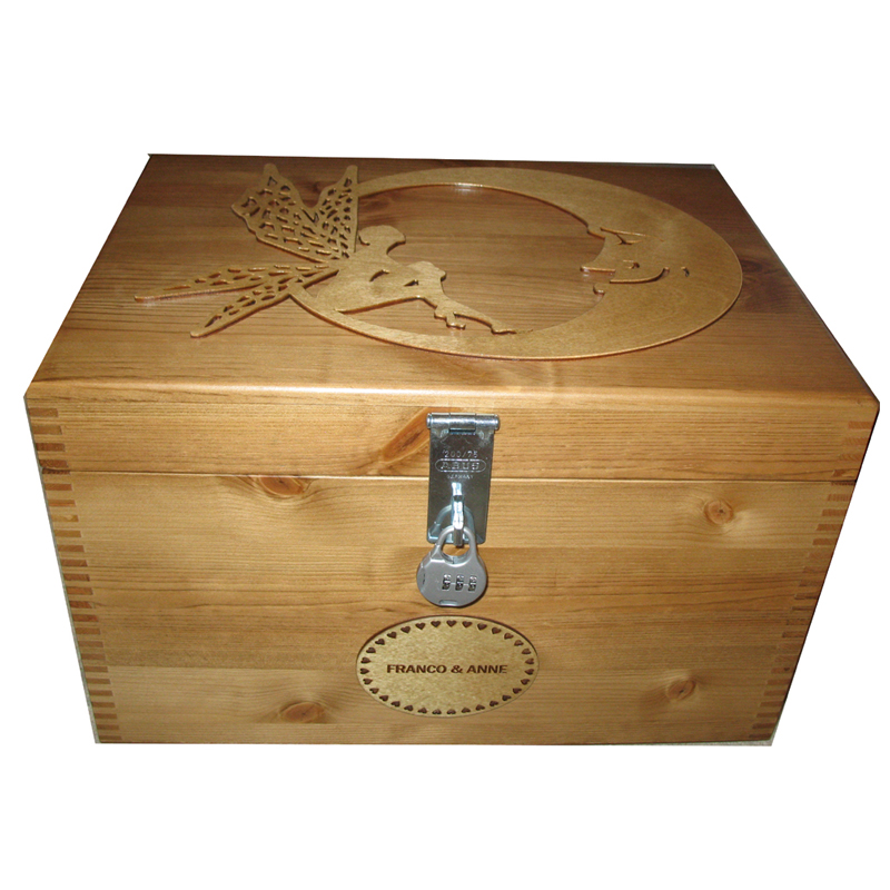 Personalised Extra Large Wooden Keepssake or Memory Box with moon and fairy
