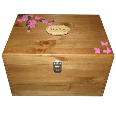 Natural Wood XL Keepsake or Memory Boxes with spray of flowers