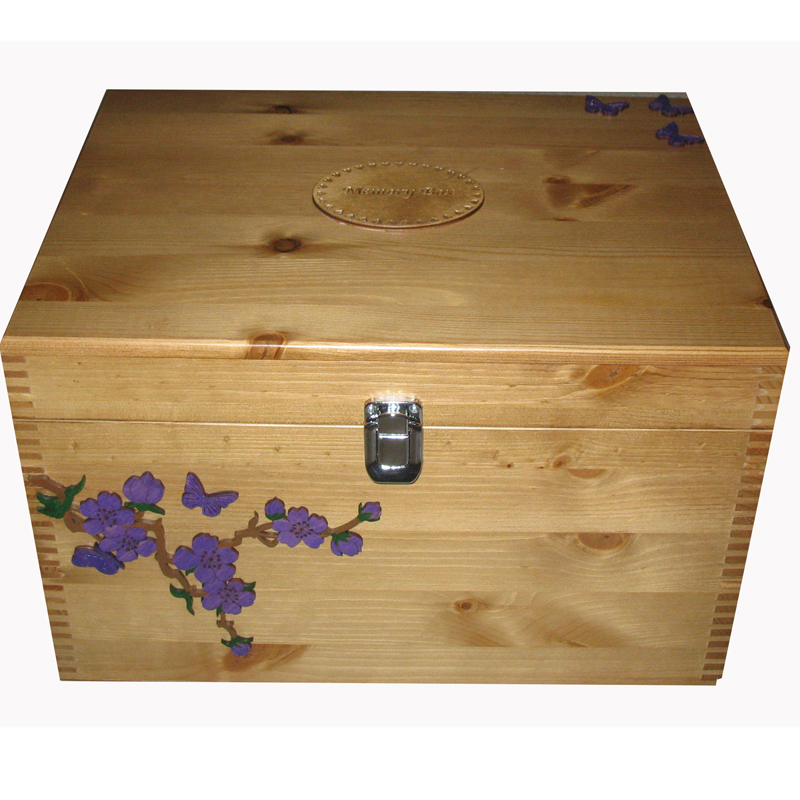 Lacquered Pine XL Keepsake Storage Boxes