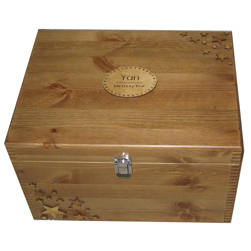 Rustic Pine XL Memory Box for keepsakes with stars