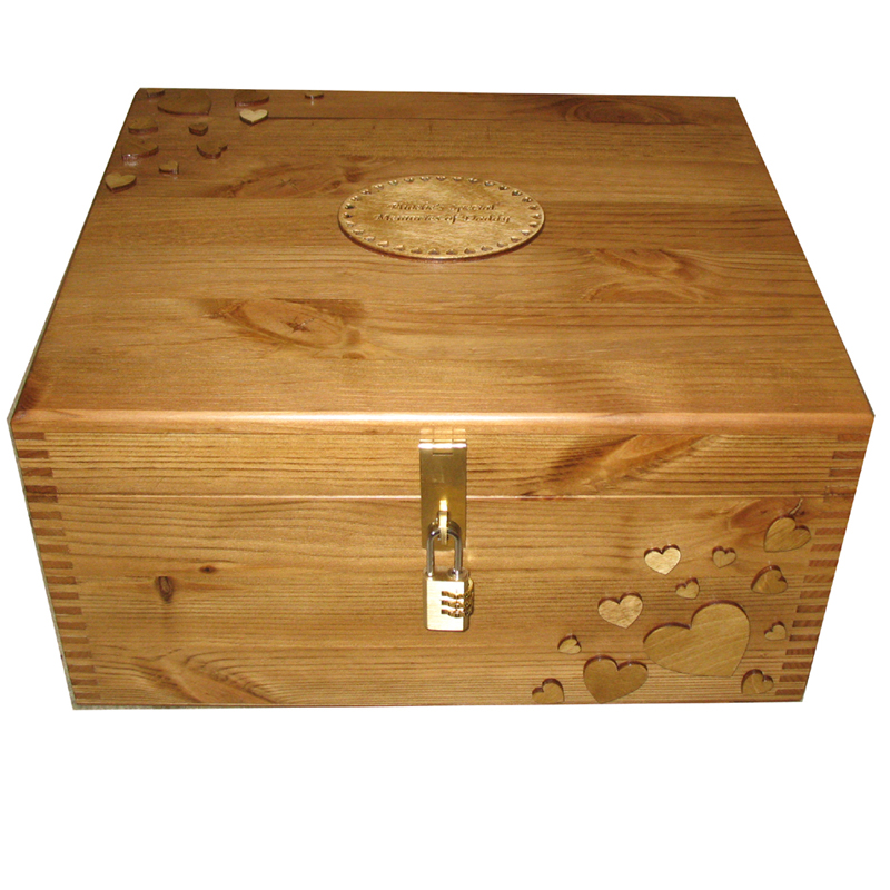 Natural Wood Large Keepsake Box Size: 35 x 30 x 18cm