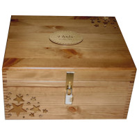 Rustic Lacquered Pine Memory Box with stars Lockable