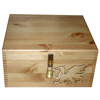 Natural (Lighter colour) Pine Keepsake Box with Welsh Dragon lockable