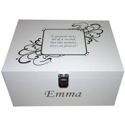 White Adult Box with swirl name and saying