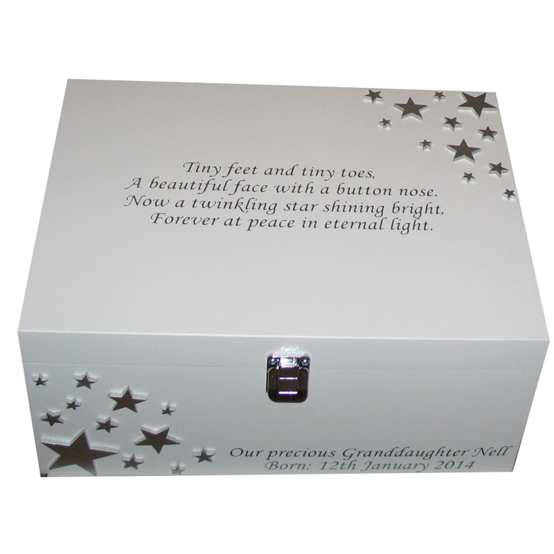 White Baby Bereavement Memory Box With Silver Stars And Verse