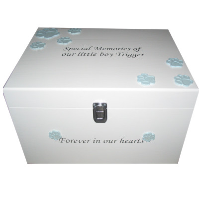 White box with pale blue dog paws silver lettering with clasp